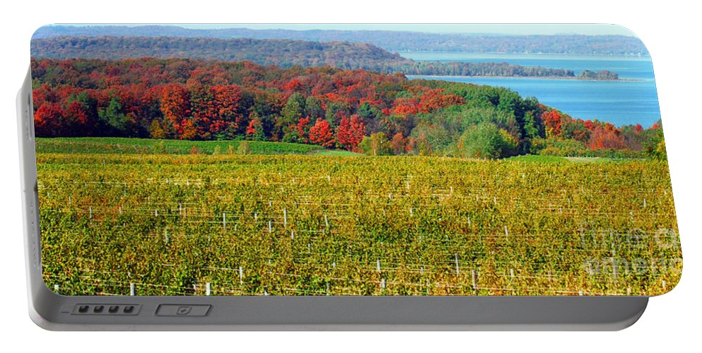 Grand Traverse Winery In Autumn Portable Battery Charger featuring the photograph Grand Traverse Winery In Autumn by Optical Playground By MP Ray