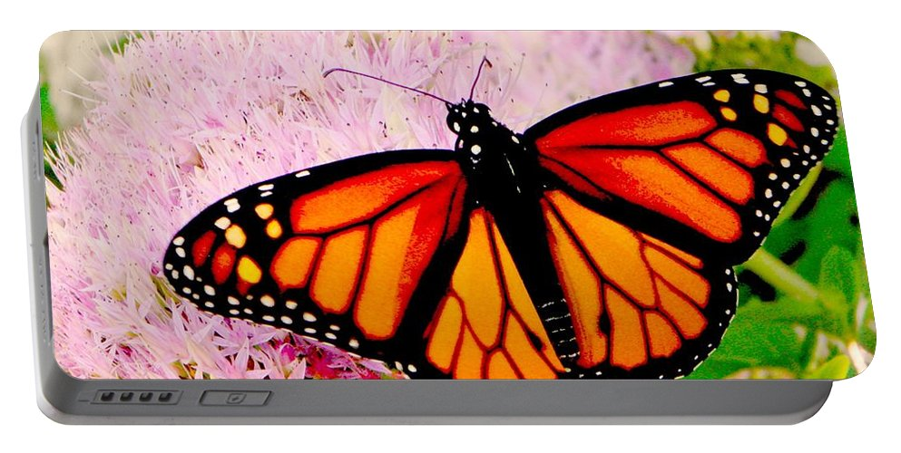 Monarch Portable Battery Charger featuring the photograph Graphic Monarch by Chris Berry