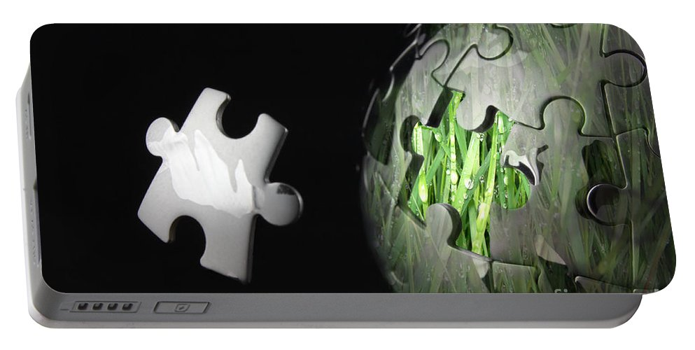 Global Portable Battery Charger featuring the photograph Grass Jigsaw Globe by Simon Bratt Photography LRPS