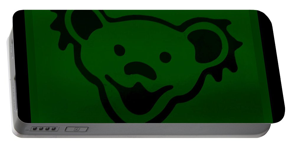 Greatful Dead Portable Battery Charger featuring the photograph Greatful Dead Dancing Bear In Green by Rob Hans