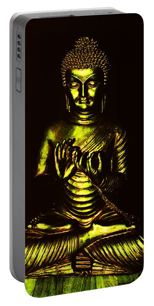 Buddha Portable Battery Charger featuring the photograph Green And Gold Buddha by Diana Haronis