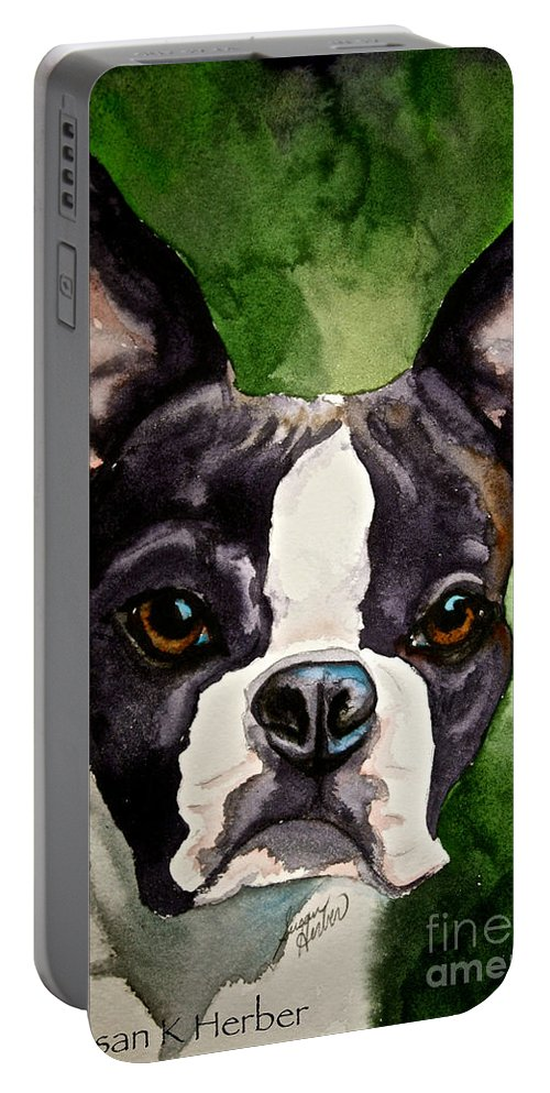 Animal Portable Battery Charger featuring the painting Green Black And White by Susan Herber