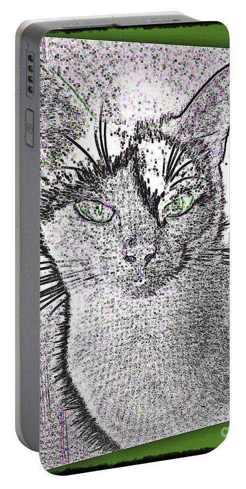 Cat Portable Battery Charger featuring the photograph Green Eyed Monster by Leslie Revels