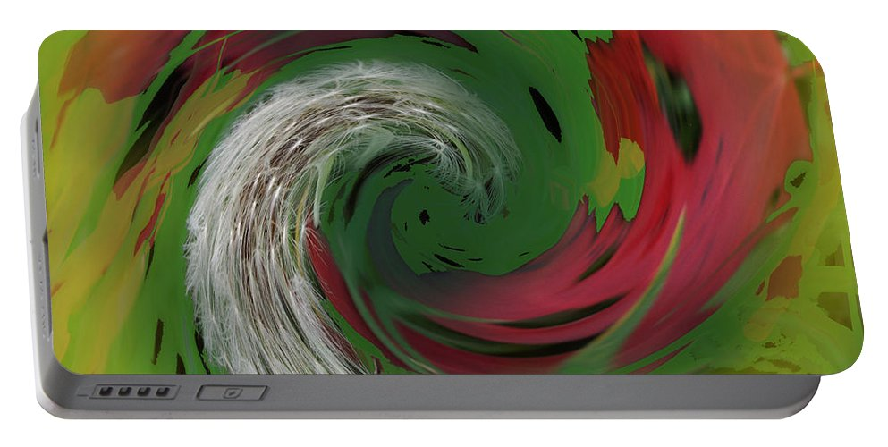 Abstract Portable Battery Charger featuring the digital art Green Funnel by Ian MacDonald