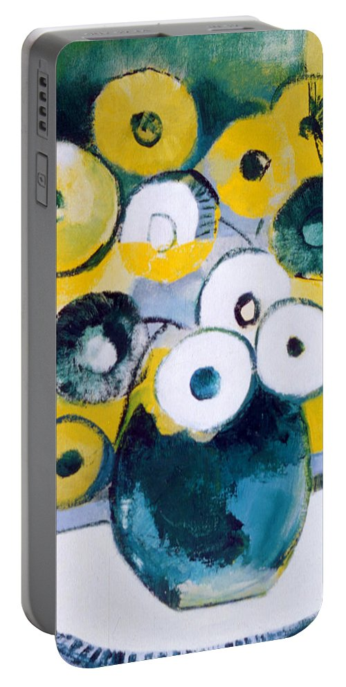 Large Blue-green Jug With Yellow And White Flowers Portable Battery Charger featuring the painting Green Jug With Round Flowers by Betty Pieper