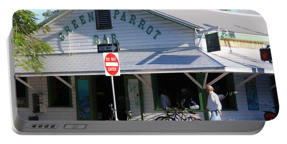 Key West Portable Battery Charger featuring the photograph Green Parrot Bar In Key West by Susanne Van Hulst