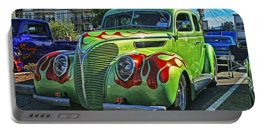 Cars Portable Battery Charger featuring the photograph Green With Flames Hdr by Randy Harris