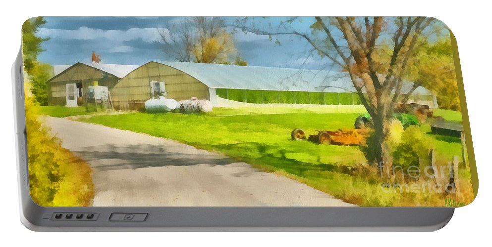 Greenhouse Portable Battery Charger featuring the painting Greenhouses by Anne Kitzman