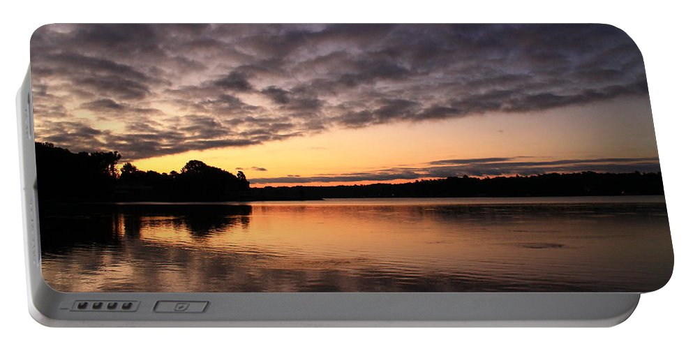 Sunrise Portable Battery Charger featuring the photograph Grey Clouds And Orange Sunrise by Catie Canetti