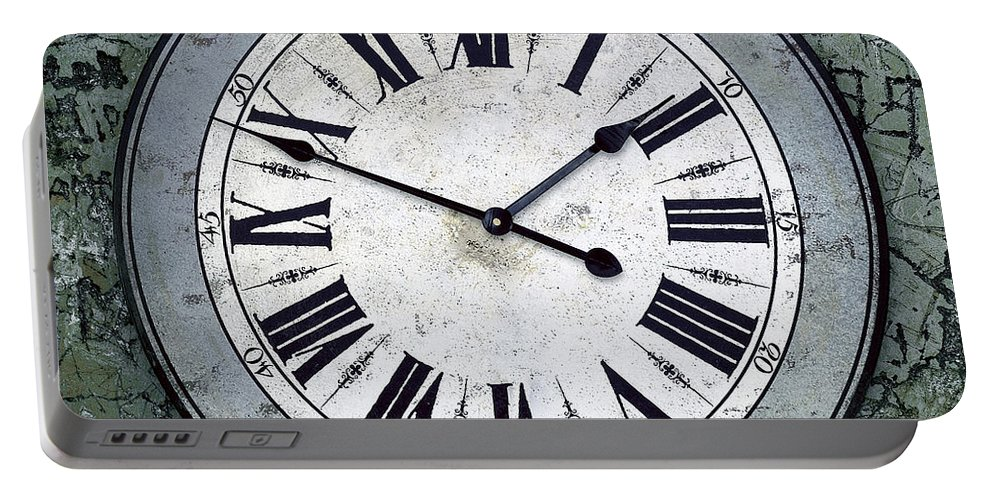 Abstract Portable Battery Charger featuring the photograph Grungy Clock by Carlos Caetano