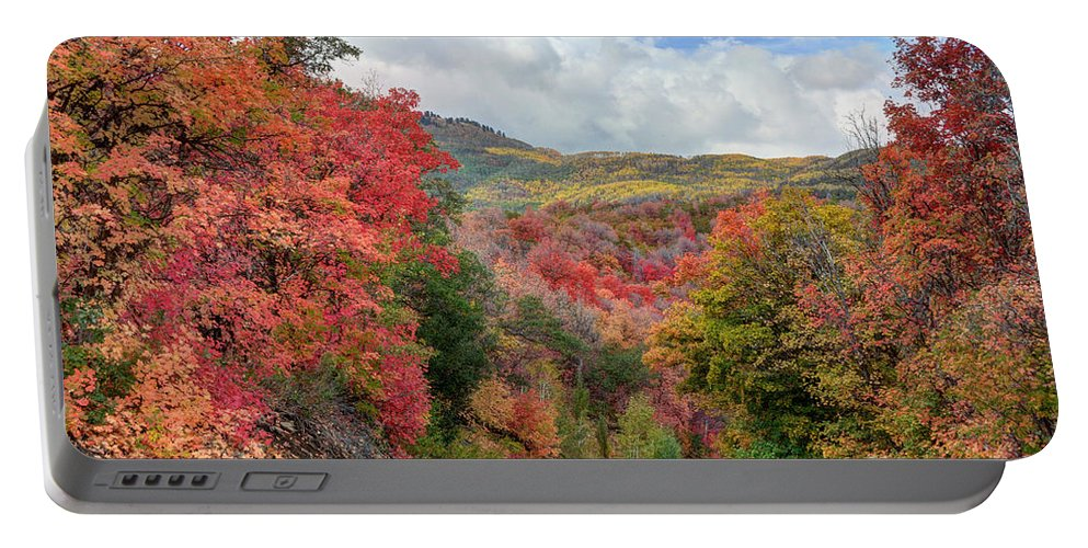 Guardsman Portable Battery Charger featuring the photograph Guardsman Pass To Midway In The Fall - Utah by Gary Whitton