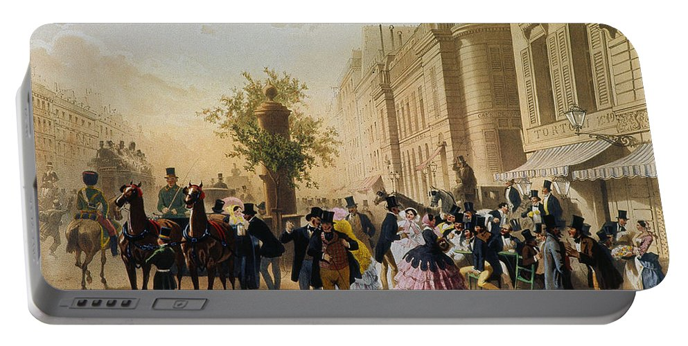 1856 Portable Battery Charger featuring the photograph Guerard: Cafe Tortoni, 1856 by Granger