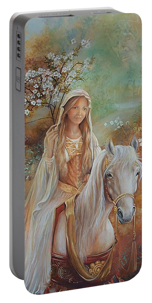 Fantasy Portable Battery Charger featuring the painting Guinevere by Penny Golledge