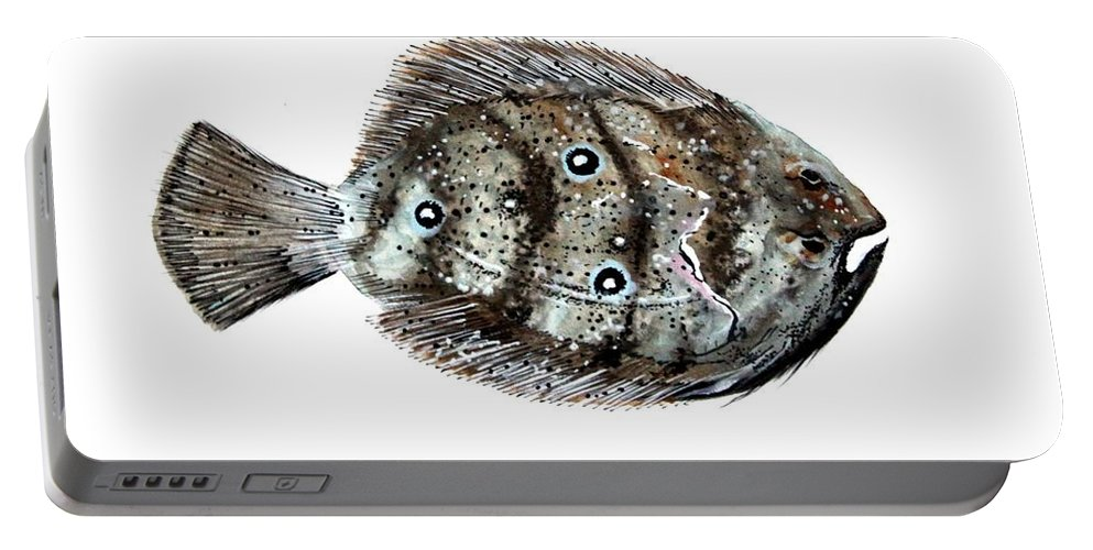 Flounder Portable Battery Charger featuring the painting Gulf Flounder by J Vincent Scarpace