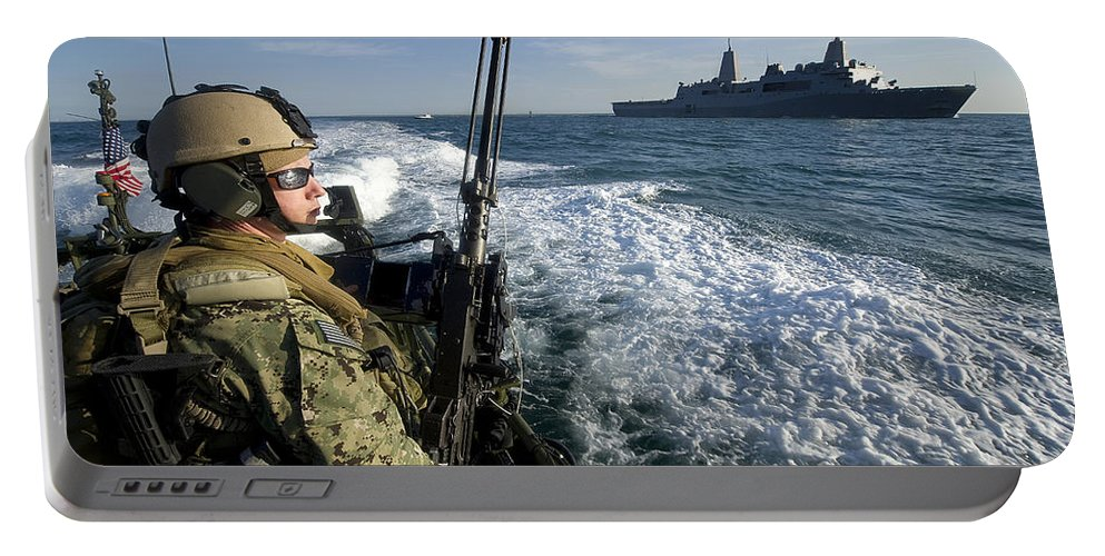 Exercise Bold Alligator Portable Battery Charger featuring the photograph Gunner Mans A .50-caliber Machine Gun by Stocktrek Images