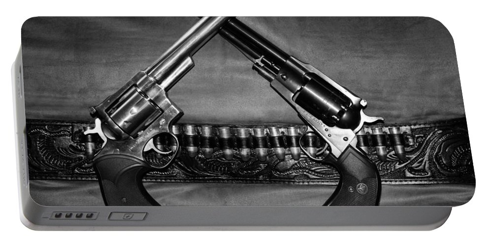 Guns Portable Battery Charger featuring the photograph Guns In Black And White by Kristin Elmquist