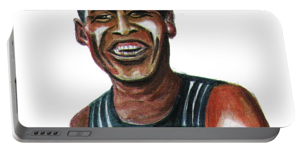 Portraits Portable Battery Charger featuring the painting Haile Gebreselassie by Emmanuel Baliyanga