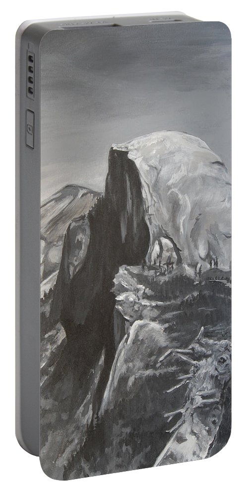 Black And White Painting Portable Battery Charger featuring the painting Half Dome Tree by Travis Day
