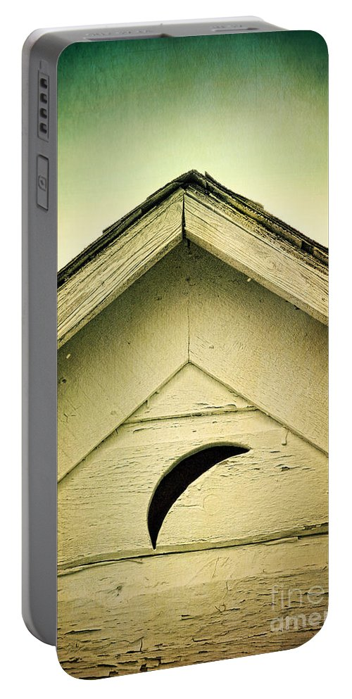 Outhouse Portable Battery Charger featuring the photograph Half Moon On Rurual Outhouse by Jill Battaglia