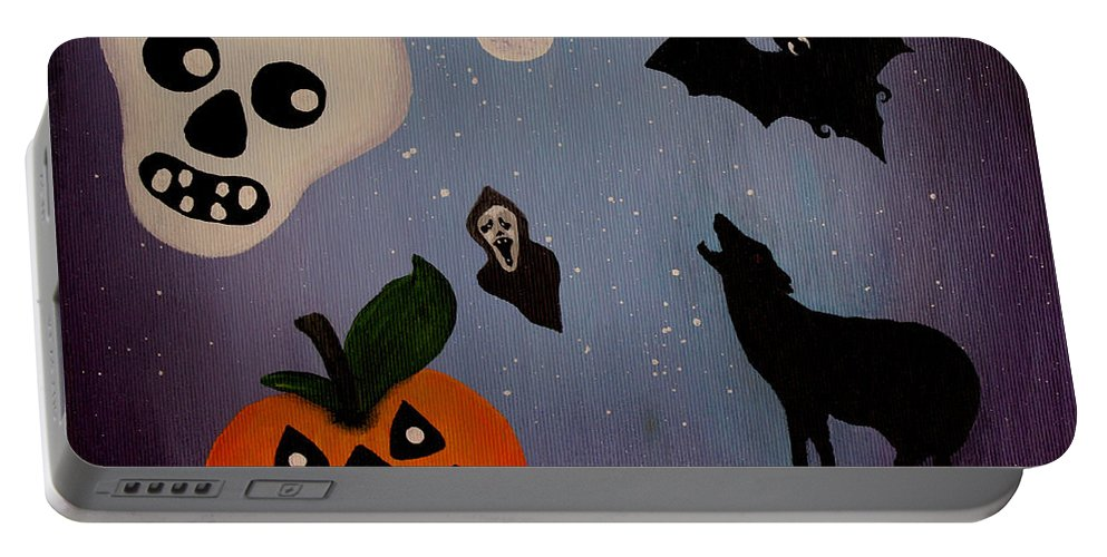 Halloween Party Portable Battery Charger featuring the painting Halloween Night Original Acrylic Painting Placemat by Georgeta Blanaru