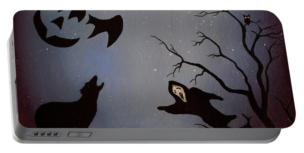 Halloween Party Portable Battery Charger featuring the painting Halloween Night Party Original Painting Placemat Doormat by Georgeta Blanaru