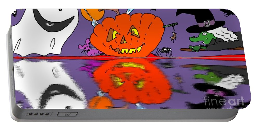 Halloween Portable Battery Charger featuring the painting Halloween Reflections by George Pedro