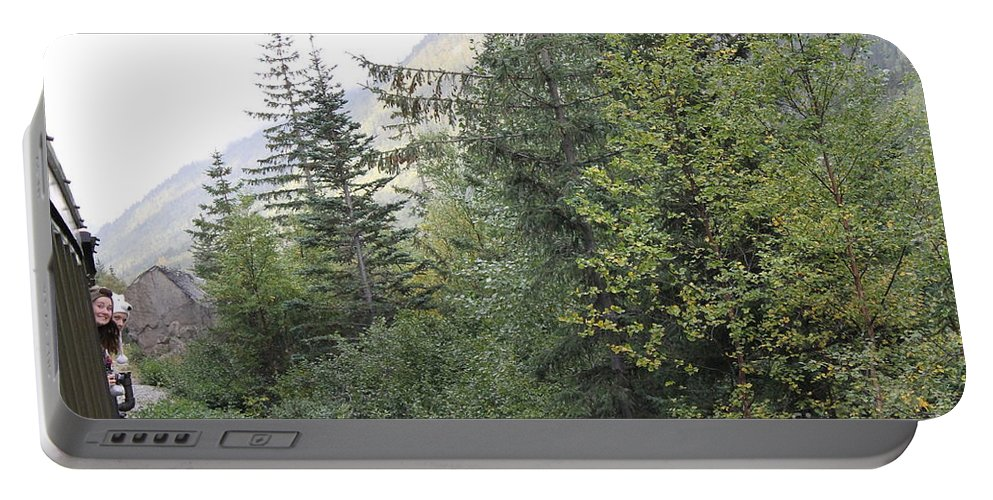 Train Ride Portable Battery Charger featuring the photograph Hanging Shot by Pamela Walrath