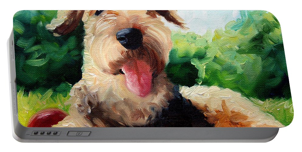 Art Portable Battery Charger featuring the painting Happy Dale by Mary Sparrow