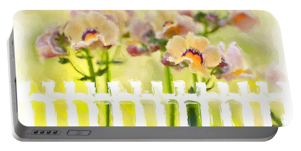 Nemesia Portable Battery Charger featuring the photograph Happy Flower Faces by Heidi Smith