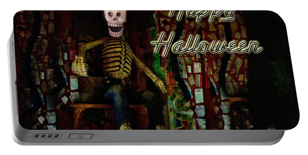 Halloween Portable Battery Charger featuring the photograph Happy Halloween Skeleton Greeting Card by Mother Nature