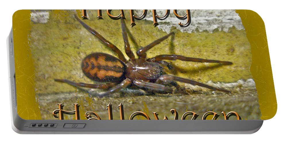 Halloween Portable Battery Charger featuring the photograph Happy Halloween Spider Greeting Card by Mother Nature