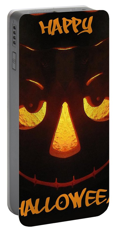 Halloween Portable Battery Charger featuring the digital art Happy Halloween by Tim Allen