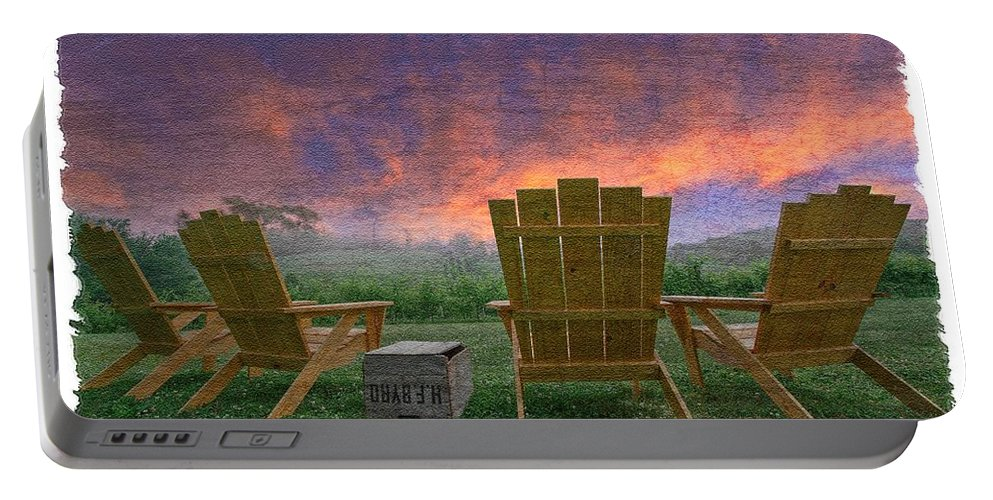 Appalachia Portable Battery Charger featuring the photograph Happy Hour by Debra and Dave Vanderlaan