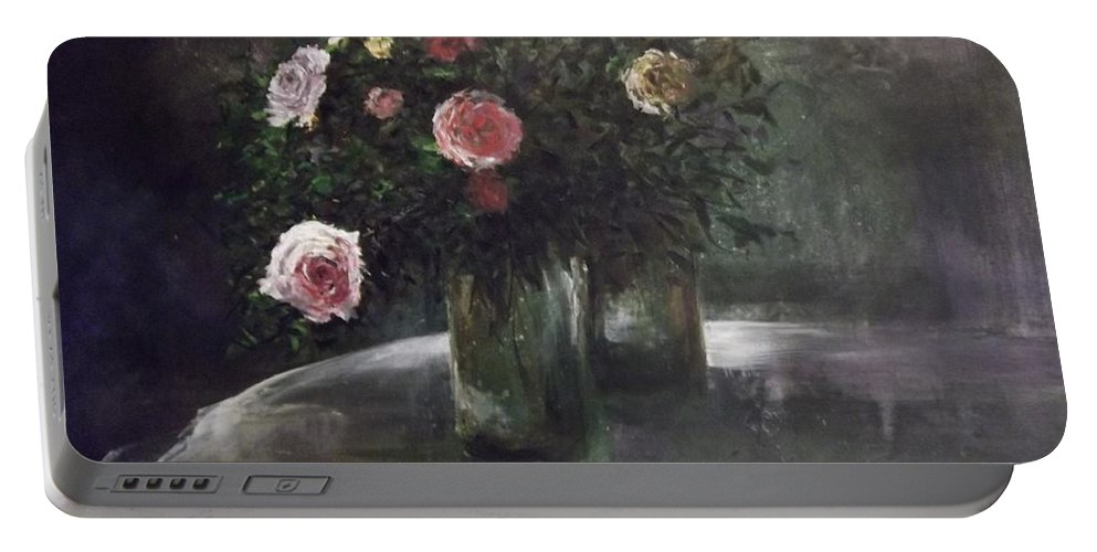 Ciaro Oscuro Portable Battery Charger featuring the painting Happy On The Inside by Lizzy Forrester
