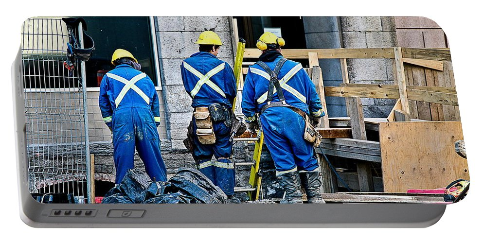 Workers On The Job Portable Battery Charger featuring the photograph Hard At Work by Burney Lieberman