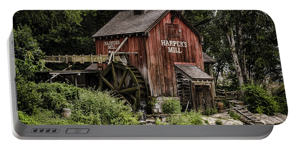 Mill Portable Battery Charger featuring the photograph Harpers Mill by Heather Applegate