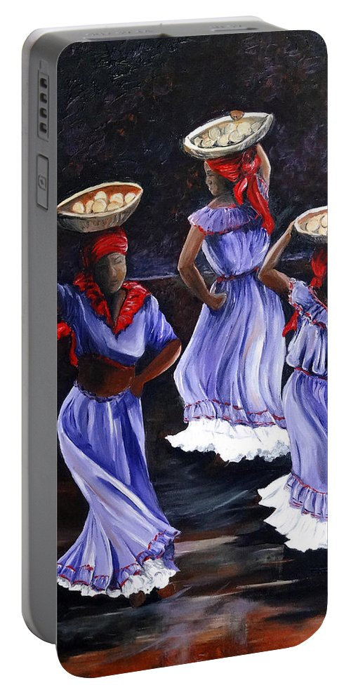 Caribbean Dance Portable Battery Charger featuring the painting Harvest Dance by Karin Dawn Kelshall- Best