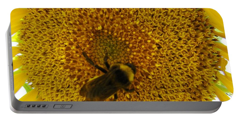 Bee Portable Battery Charger featuring the photograph Harvesting The Sun by Michael MacGregor