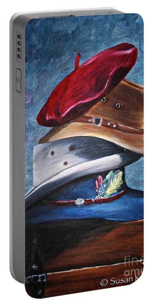 Hats Portable Battery Charger featuring the painting Hat Stack by Susan Herber