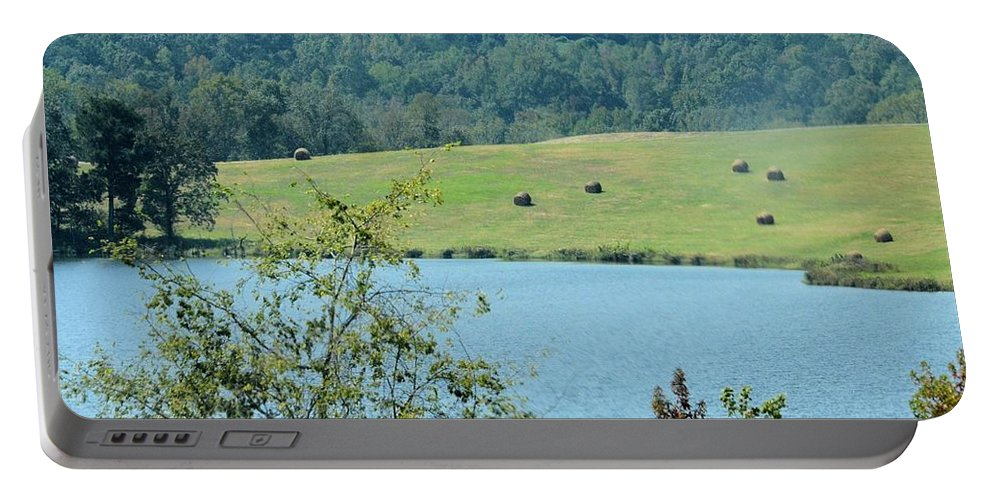 Hay Rolls On A Hill Portable Battery Charger featuring the photograph Hay Rolls On A Hill by Maria Urso