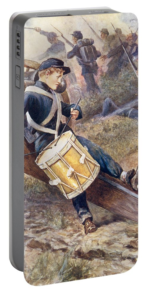 He Crawled Behind A Cannon And Pale And Paler Grew Portable Battery Charger featuring the painting He Crawled Behind A Cannon And Pale And Paler Grew by William Henry Charles Groome