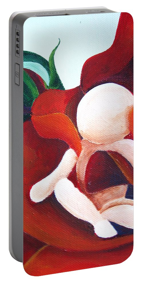 Healing Painting Portable Battery Charger featuring the painting Healing Painting Baby Sitting In A Rose Detail by Catt Kyriacou