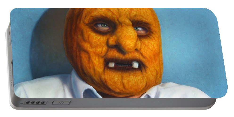 Halloween Portable Battery Charger featuring the painting Heavy Vegetable-head by James W Johnson