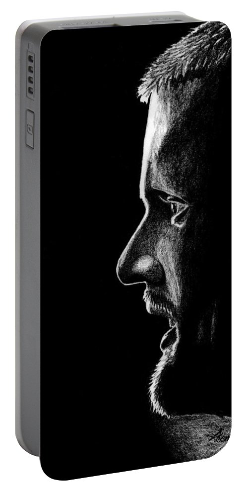 Henrik Portable Battery Charger featuring the drawing Henrik Sedin by Kayleigh Semeniuk