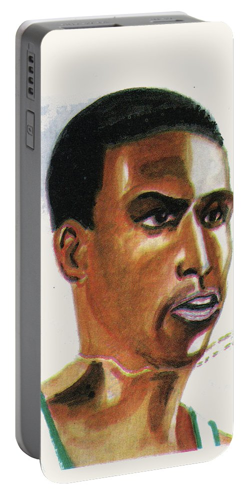 Sports Portable Battery Charger featuring the painting Hichan El Guerrouj by Emmanuel Baliyanga