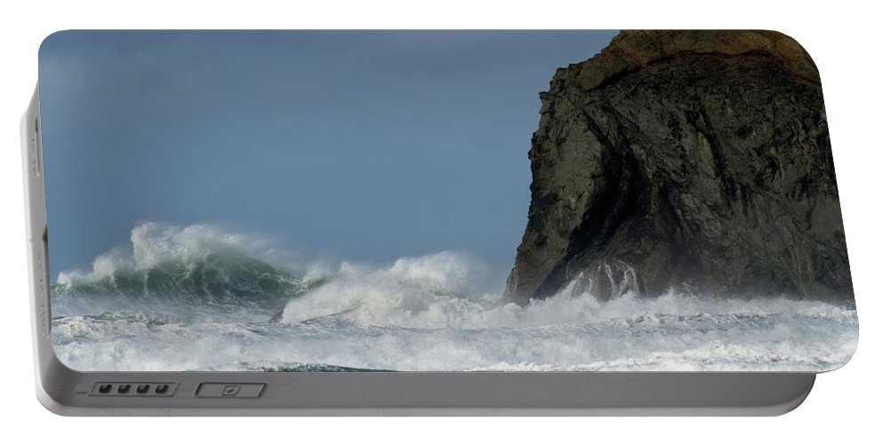 Rocks Portable Battery Charger featuring the photograph High Surf by Bob Christopher