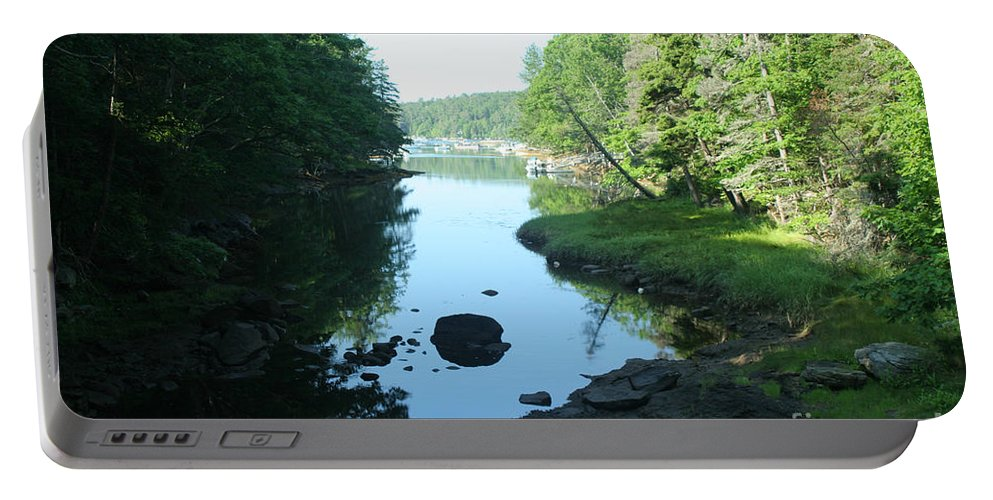 Tide Portable Battery Charger featuring the photograph High Tide In Maine Part Of A Series by Ted Kinsman