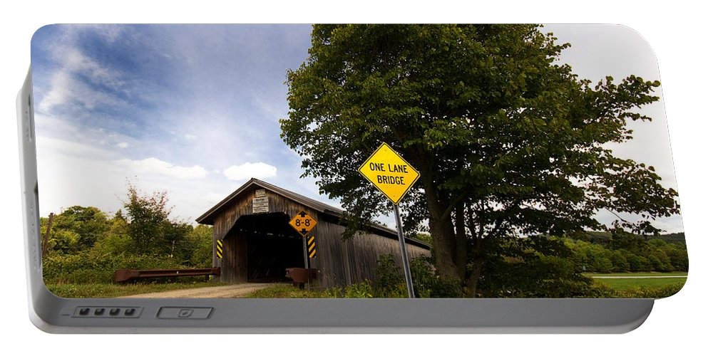 Covered Bridge Portable Battery Charger featuring the photograph Hopkins Covered Bridge by Stephanie McDowell