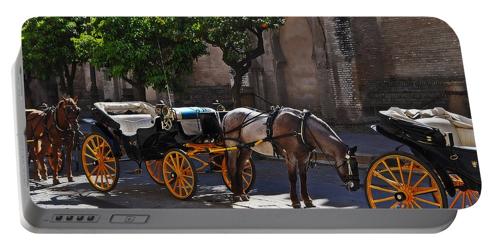 Horse And Carriage Portable Battery Charger featuring the photograph Horse And Carriage by Mary Machare