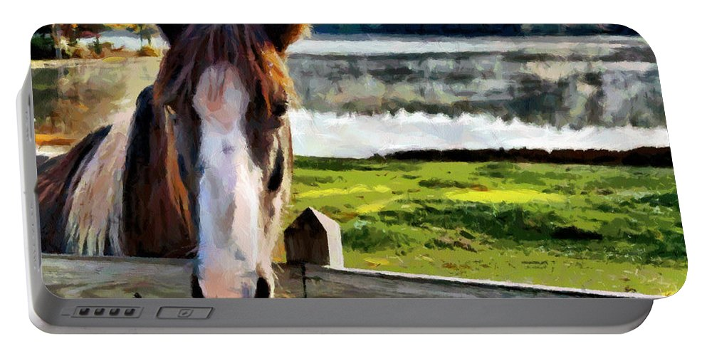 Horse Portable Battery Charger featuring the painting Horse At Lake Leroy by Lynne Jenkins